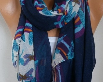 Blue DRAGONFLY Print Cotton Scarf Summer Shawl Teacher Gift Cowl Oversize Wrap Beach Wrap Pareo Gift Ideas For Her Women Fashion Accessories