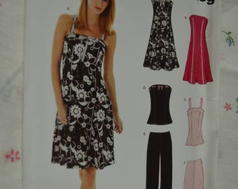 New Look 6468 Misses Dress or Top and Pants or Shorts Sewing Pattern - UNCUT - Size 6 - 16