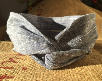 Headband P' little trickster - woven blue gray stripes