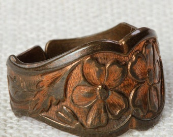 Vintage Copper Ring Adjustable Band Floral Etched Pattern Womens 7RI