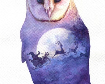 Santa claus is coming to town - ORIGINAL watercolor painting 7.5x11 inches