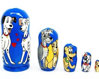 Disney dogs Nesting dolls ,Matryoshka Doll 5pcs, Darth Vader, Funny Gifts, Kids Room Decor, Kids Gifts, Valentine's Day