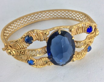 Beautiful Vintage 1960's Wirework Bangle with lovely Faux Sapphire Stones ... Vintage Original 60's Sixties