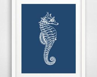 Navy seahorse print, Seahorse Print, Seahorse wall print, Coastal Decor, Marine wall prints, Nautical Decor, Navy Nursery, Bathroom wall art