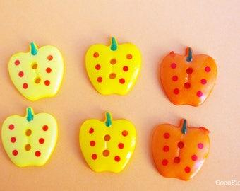 6 button large Apple buttons polka dot buttons shape fruit - 22x21mm - 3 color choices