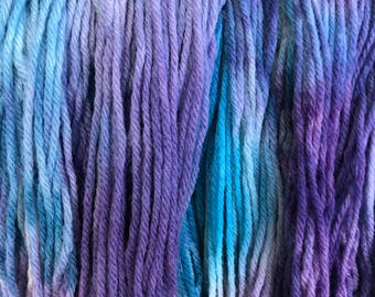 """Purple and Turquoise Wool Yarn - Worsted Weight 4 ply - Hand dyed Variegated - """"Reef Side Mystery Sheep"""""""