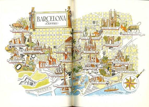 Barcelona Map Print City of Barcelona Spain Map World