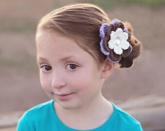 Cream Hair Clip Brown Hair Clip Lavender Hair Clip Purple Hair Clip Flower Hair Clip Flower Barrette Crochet Hair Clip Crochet Barrette