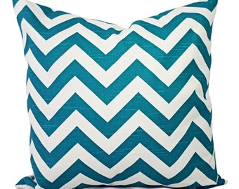 Turquoise Pillow Covers - Two Turquoise Chevron Pillow Covers - Decorative Throw Pillow - Chevron Pillow Cushion Cover Accent Pillow