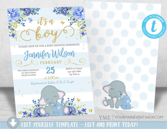 Boy Elephant Baby Shower Invitation, Boy Blue Elephant Baby Shower, Blue Flowers Jungle Baby Shower Invite, It's a Boy Instant Download