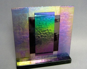 Purple Iridescent Carnival Art Glass Sculpture Artist Signed