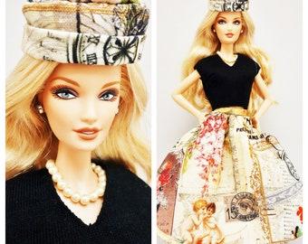 Shirt/Skirt/Hat & Necklace -flower/angel/clock-, handmade dress for Barbie/Poppy parker, 11.5inch dolls