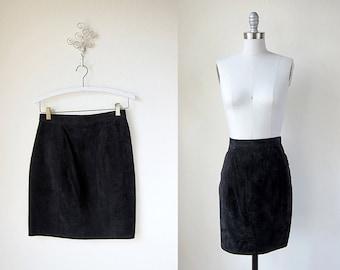 1980s black vintage suede leather short mini skirt 1990s s m