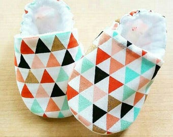 Pastel and Gold Triangle Baby Booties
