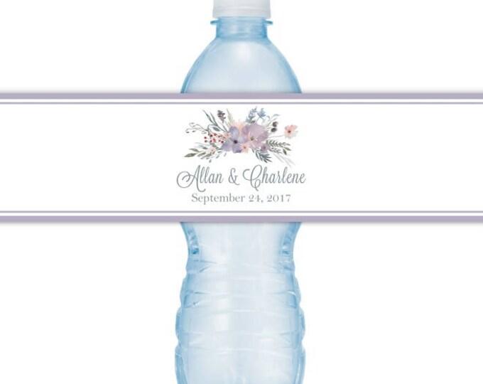 Wedding Water Bottle Labels - CUSTOM Printable Watercolor Floral Water Bottle Labels, YOU print, you cut, DIY water bottle labels