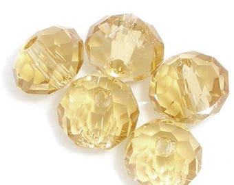 PC14 - Set of 12 champagne 6 mm rondelle Crystal beads