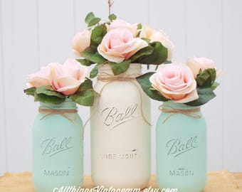 Set 3 painted mason jars,one half gallon,2 quart size,mason jar decor,mason jar centerpiece,mint-green/ivory,rustic decor,wedding decor