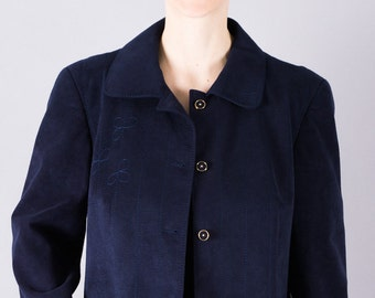 80 's vintage jacket-blazer jacket-dark blue-80s jacket-transitional jacket-chic-elegant-women's jacket