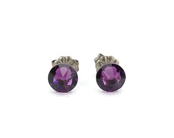 Titanium Stud Earrings Amethyst Purple Swarovski Crystal Studs on Titanium Posts for Sensitive Earlobes, Hypoallergenic Earings