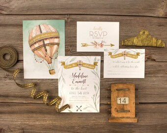 Boho Wanderlust Hot Air Balloon Wedding Invitations & Stationery - SAMPLE -  Watercolour Artwork and Design by Alicia's Infinity