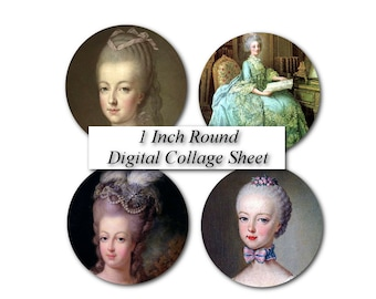 1 inch Round Circle Marie Antoinette image French Royalty Portrait Empemera - Bottle Beer Cap image Digital Collage Sheet