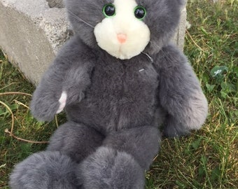 24K Polar Puff Special Effects Plush Grey Cat Vintage 1992 DCN Industries
