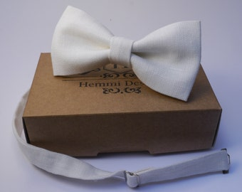 White LInen Bow Tie For Wedding - Groomsmen / Boy's / Toddler's / Men's Linen Bow TIe