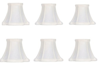 Set of Six Silk Chandelier Shades White French Piping and Self Fold Trim