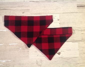 Buffalo Plaid Dog Over Collar Bandana, Red and Black Pet Scarf, Reversible
