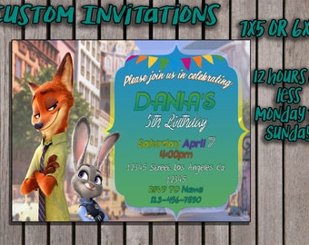 zootopia custom invitation 12 hours or less, monday to sunday