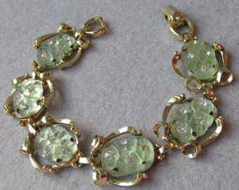 1960's Vintage Faux Carved Jade Molded Glass & Rhinestone Bracelet