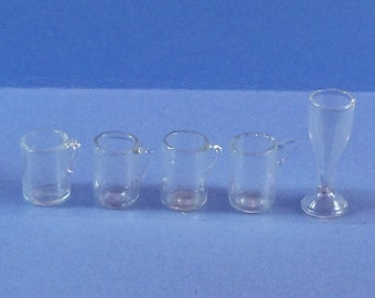 Dollhouse Miniature accessory in twelfth scale or 1:12 scale; Bar accessory.  4 beer mugs and 1 wine glass.  Item #D456
