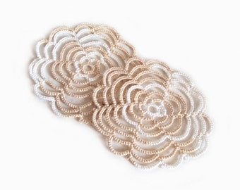 Set of Two Spiral Coasters , Variegated Beige in Tatting Lace - One Of A Kind - Cathy