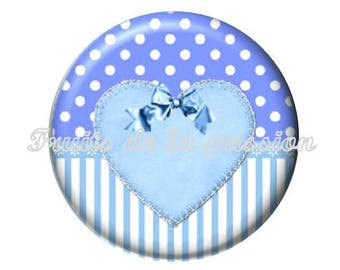 1 cabochon 30mm Blue Ribbon, heart, round glass 30mm