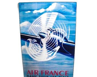 Vintage Look Air France Decor - Art Deco Aviation, Aviation Decor, Retro Aviation Wall Decor, Garage Decor, Man Cave Decor