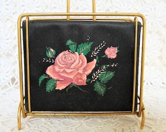 1950's Letter Rack. Vintage Floral Letter Rack. Mid Century Letter Holder. Pink and Red Roses. Black and Pink Floral Letter Rack.