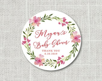 Floral Baby Shower Stickers Baby Party Stickers Baby Shower Stickers For Favors Baby Party Labels Favor Stickers Floral Shower Stickers