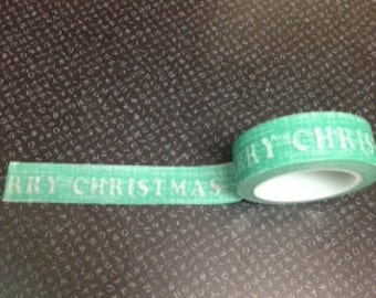 Merry Christmas Washi Tape  Green Washi Tape Holiday Washi Tape MC 580