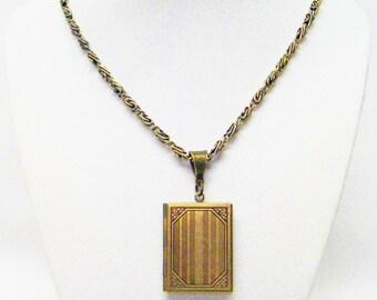 Antique Brass Book Locket Pendant Necklace