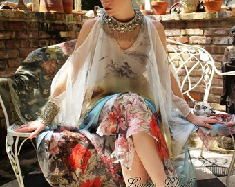 China Doll Cherry Blossom Opium Dreams Caftan Tassel Dress by Louise Black Full Length custom made to your height