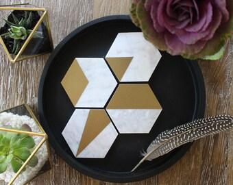 Or + marbre de Carrare mixte Geo hexagone Coasters