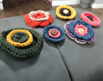 Hand Made Crochet Brooches.