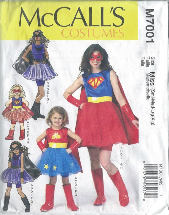 McCalls 7001, Misses, Costume, Sewing Pattern, Super Hero, Free ...