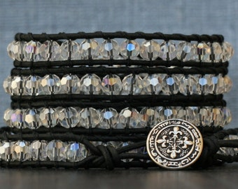 bohemian jewelry - wrap bracelet- clear aurora borealis crystal on black leather- beaded leather - boho gypsy glam rainbow