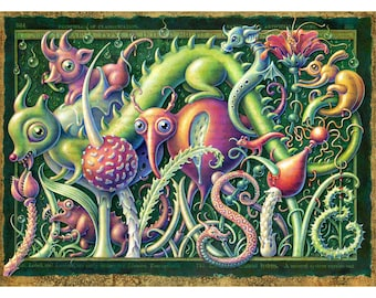 "Pop surrealism art print ~8x10"" Invasive: Creepy-cute creatures & plant oddities in a mysterious fantasy landscape. Surreal nature, monsters"