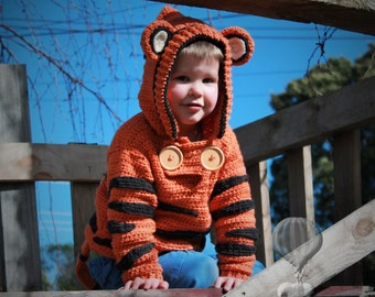 Crochet Pattern Boys Cute Tiger Sweater, Crochet Sweater, Crochet Pattern, Sweater Pattern, Tigga PATTERN ONLY