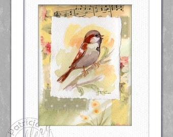 Sparrow Watercolor Collage Yellow Peach Original Music Fabric