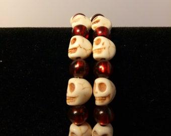 Skull Head Memory Wire Cuff Bracelet
