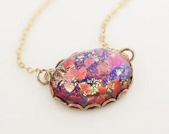 Vintage Opal Necklace, Vintage Opal Pendant, Fire Opal Pendant, 14k Gold Filled, Vintage Fire Opal,  Large Opal Pendant, Opal Jewelry
