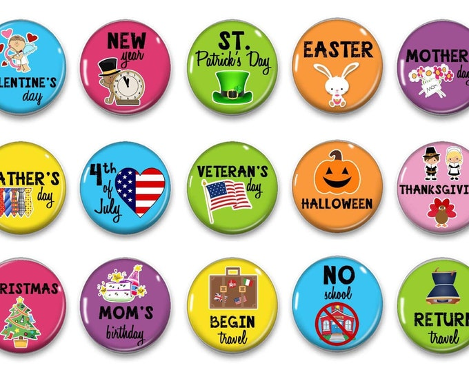 Holiday Calendar Magnets - Colorful Classroom Calendar - Perpetual Calendar - Calendar Magnets - Educational - Preschool Learning - 2018